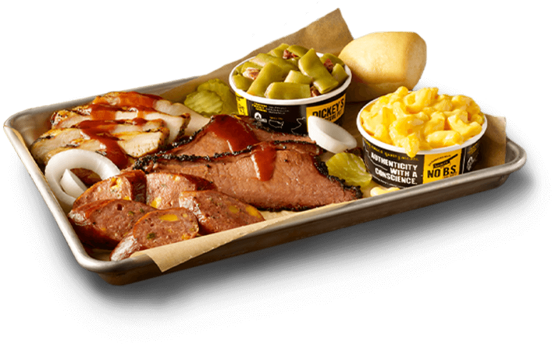 Tray of food at Dickey's Barbecue Pit